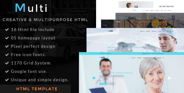 Multi – one page portfolio html template