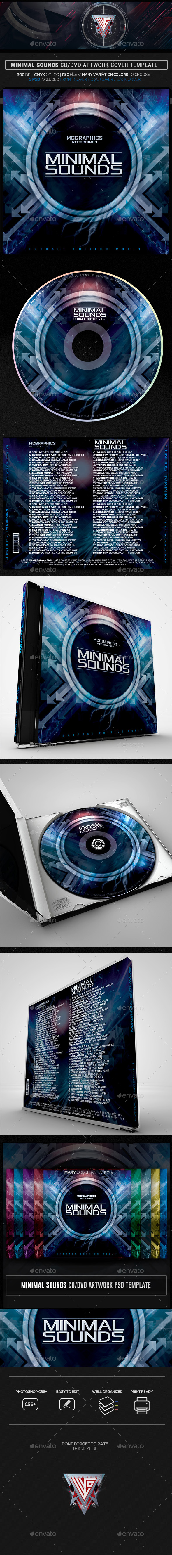 Minimal Sounds CD/DVD Template - CD & DVD Artwork Print Templates