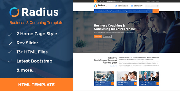 Radius - Training, Coaching, Consulting & Business HTML Template - Business Corporate