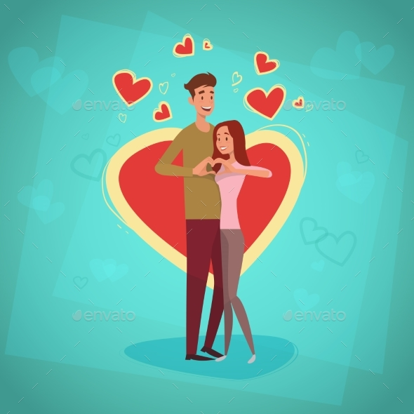 Valentine Day Holiday Couple Embrace Love Heart - Valentines Seasons/Holidays