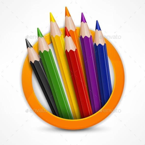Circle Pencil Logo - Miscellaneous Vectors