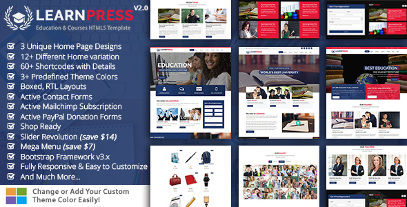 Education & Courses HTML5 Template - LearnPress