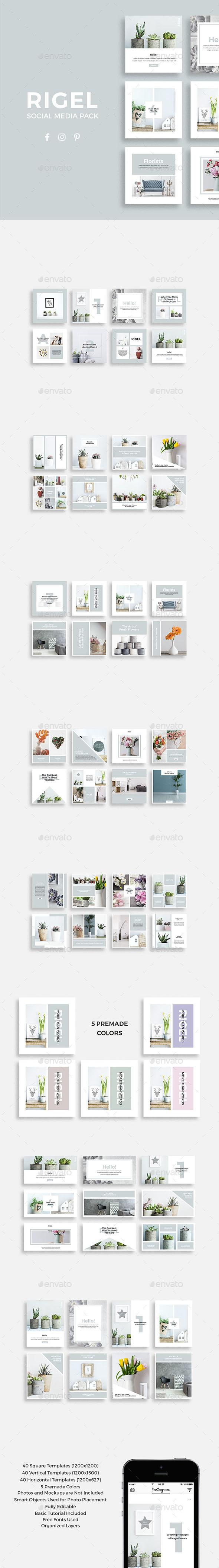 Rigel Social Media Pack - Social Media Web Elements