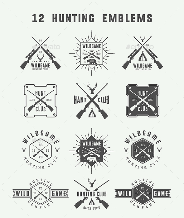 12 Hunting Emblems - Badges & Stickers Web Elements