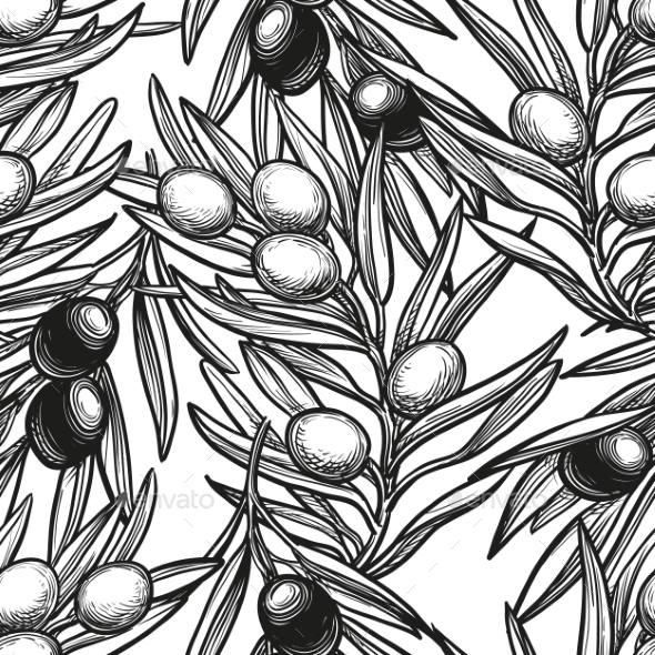 Seamless Pattern with Olive Branch - Backgrounds Decorative