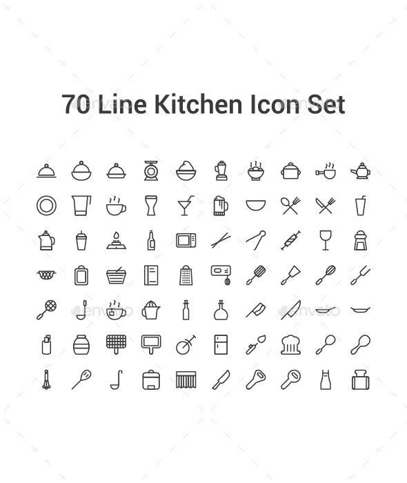 70 Line Kitchen Icon Set - Icons