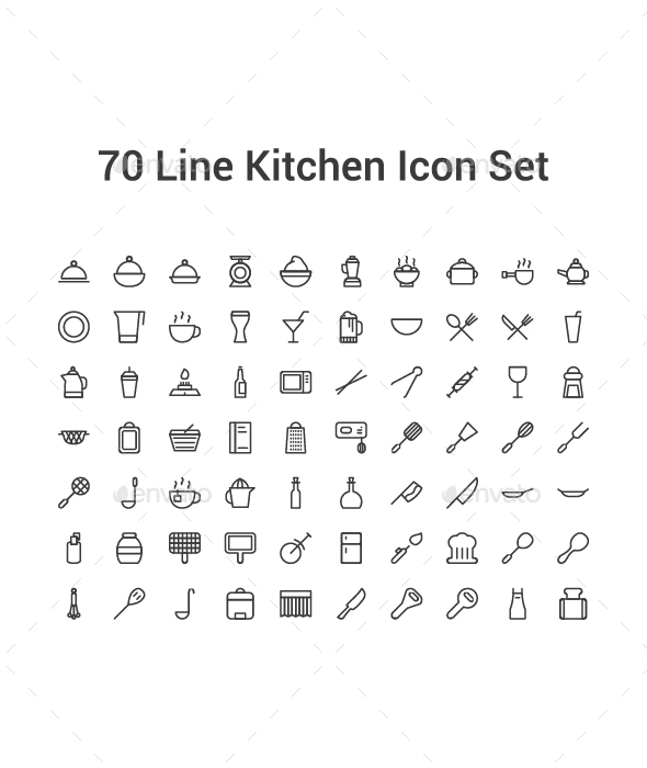 70 Line Kitchen Icon Set