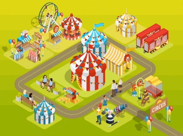 Travel Circus Fairground Isometric Layout Poster - Conceptual Vectors