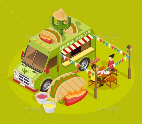 Mexican Food Truck Isometric Advertisement Poster - Food Objects
