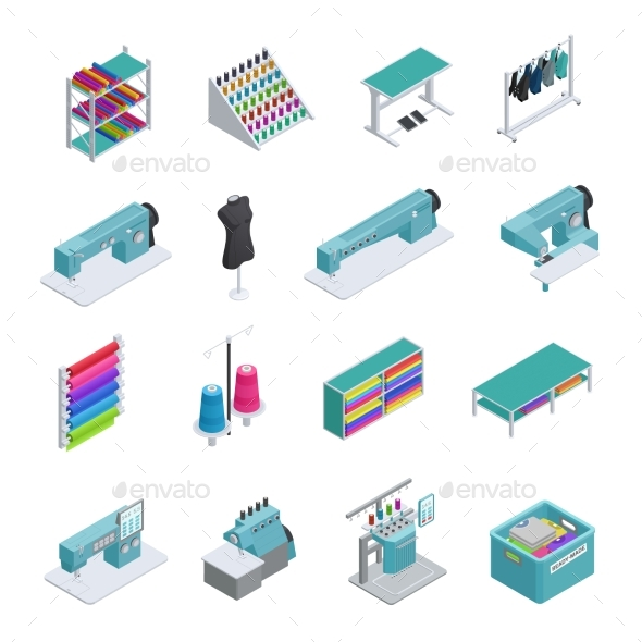 Garment Factory Isometric Icon Set - Objects Vectors