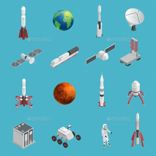 3d Rocket Space Icon Set - Objects Vectors