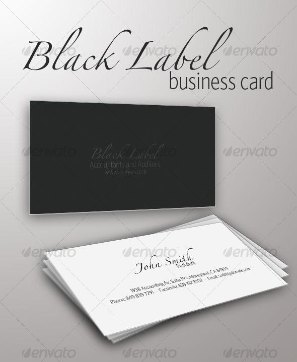 Black Label Business Card - Retro/Vintage Business Cards