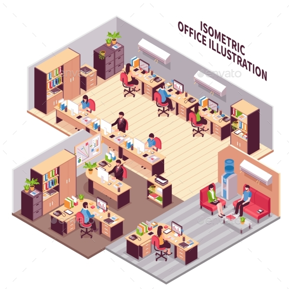 Isometric Office Workplaces Illustration - Conceptual Vectors