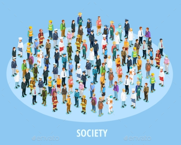 Professional Society Isometric Background - People Characters