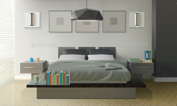 Modern Bedroom Interior Design - Man-made Objects Objects
