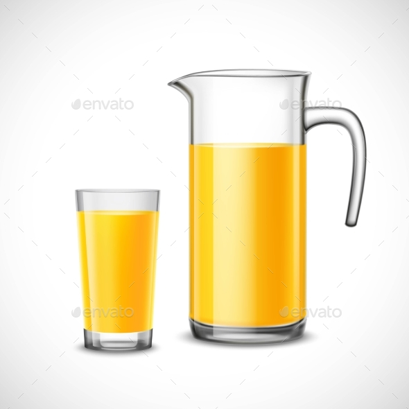 Orange Juice In Glass And Jug - Man-made Objects Objects