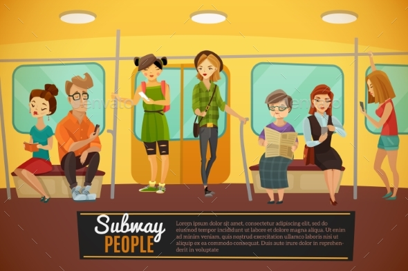 Subway  Background Illustration - People Characters