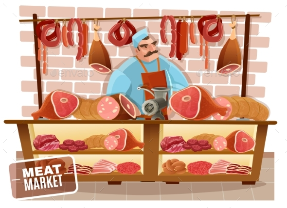Butcher Cartoon Illustration - Food Objects