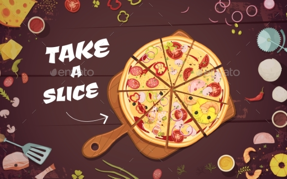 Advertising Of Pizza Cartoon Illustration - Business Conceptual