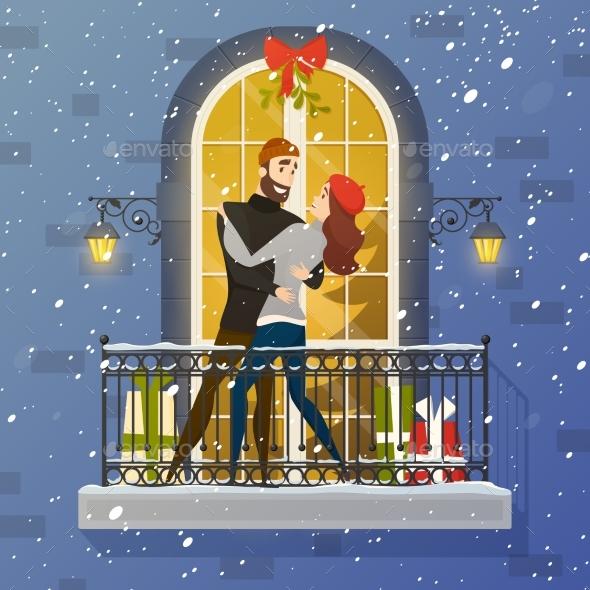 Romantic Balcony Scene Flat Illustration Poster - People Characters