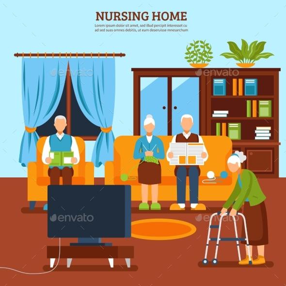 Elderly Nursing Indoor Composition - Conceptual Vectors