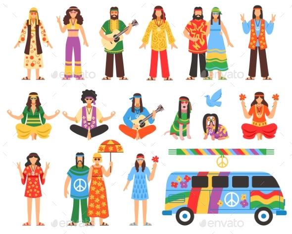 Hippie Decorative Icons Set - Decorative Symbols Decorative