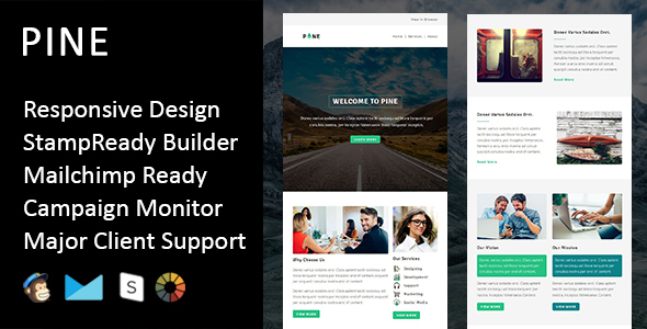 Pine - Multipurpose Responsive Email Template + Stampready Builder
