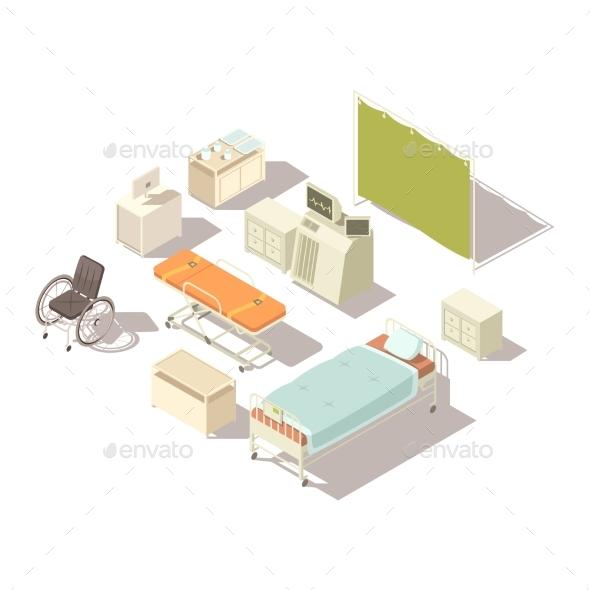 Isometric Elements Of Hospital Interior - Health/Medicine Conceptual