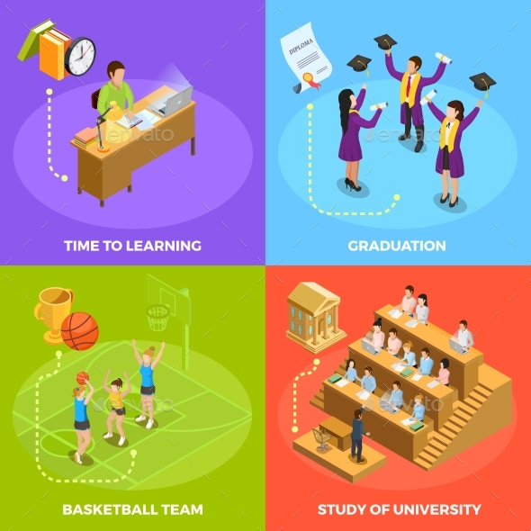 University People 4 Isometric Icons Square - Conceptual Vectors