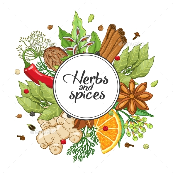 Vector Winter Round Design with Spices and Herbs - Flowers & Plants Nature