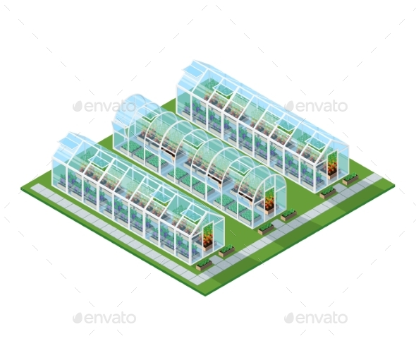 Greenhouses Isometric Location - Objects Vectors