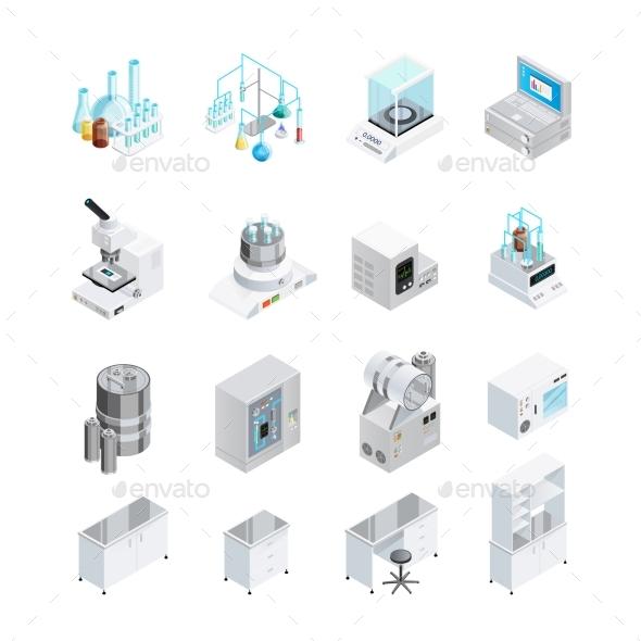 Laboratory Equipment Icon Set - Decorative Vectors