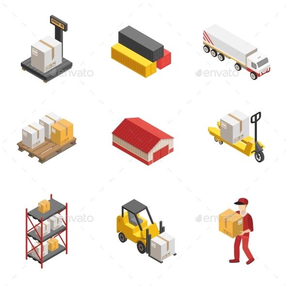 Stock Logistics Isometric Icon Set - Decorative Vectors