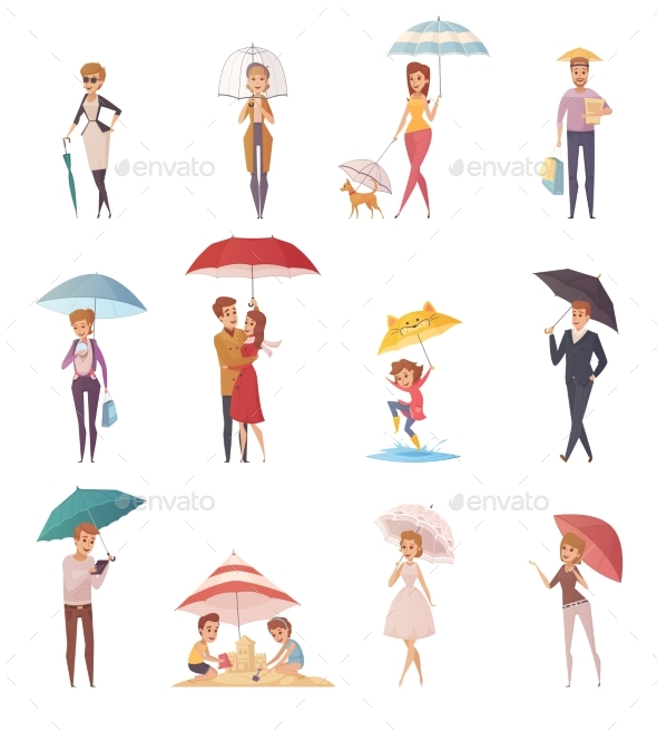 People Standing Under Umbrella - People Characters