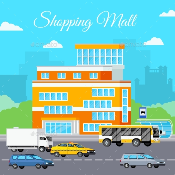 Shopping Mall Urban Composition - Backgrounds Decorative
