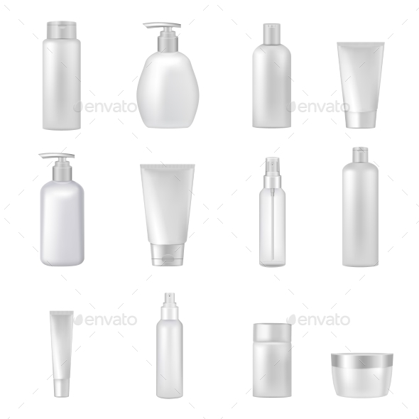 Cosmetics Bottles Tubes Empty Clear Set - Man-made Objects Objects