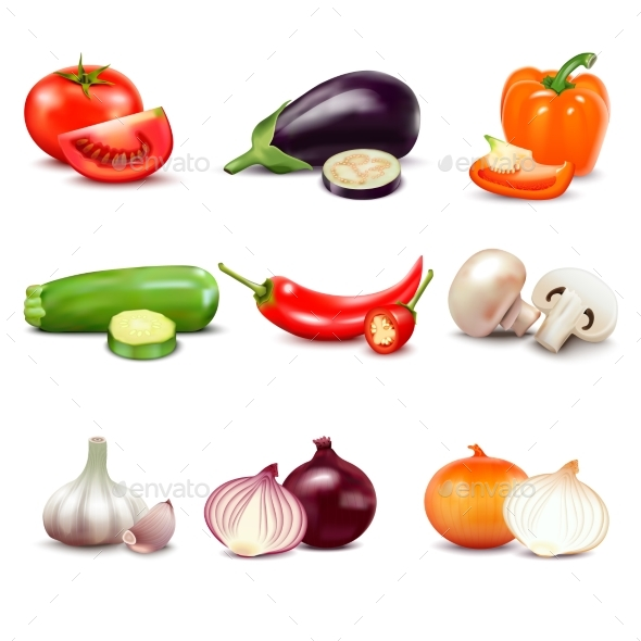 Raw Vegetables Isolated Icons - Organic Objects Objects