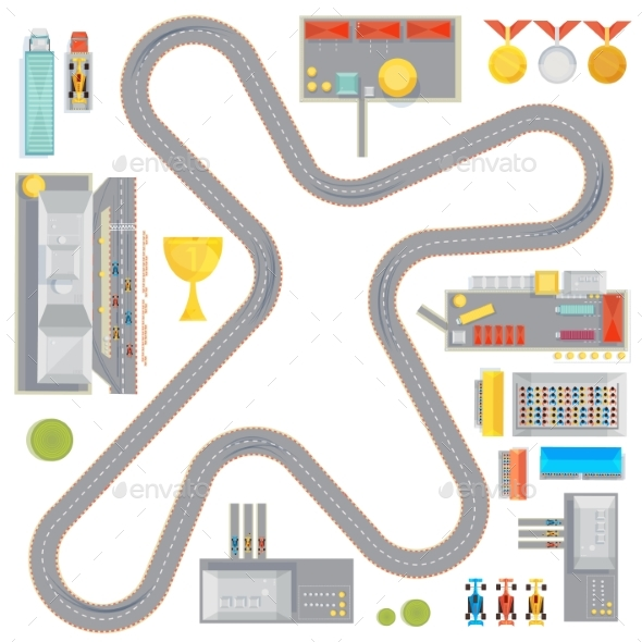 Gaming Race Track Composition - Sports/Activity Conceptual