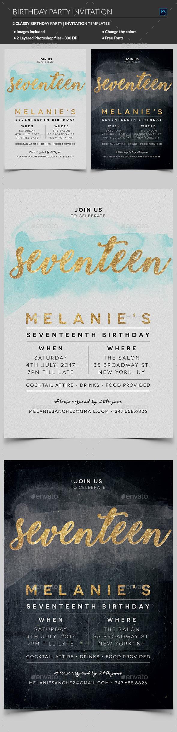 Elegant birthday invitation by madridnyc graphicriver elegant birthday invitation invitations cards invites filmwisefo