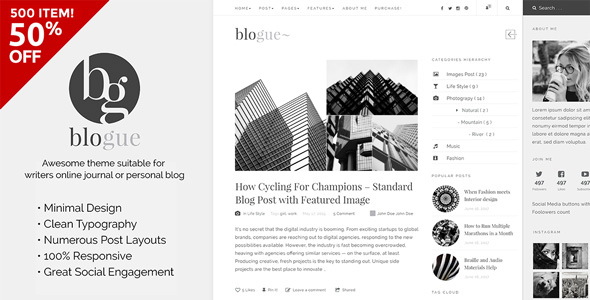 Blogue – Personal WordPress Blog Theme