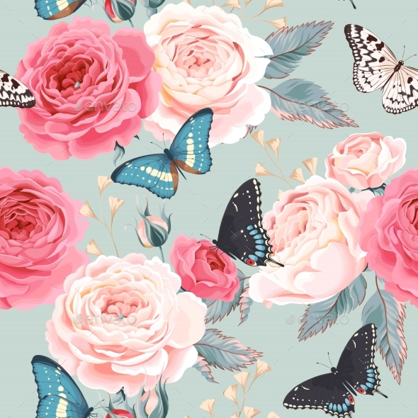 Seamless Peony Roses and Butterfly - Weddings Seasons/Holidays