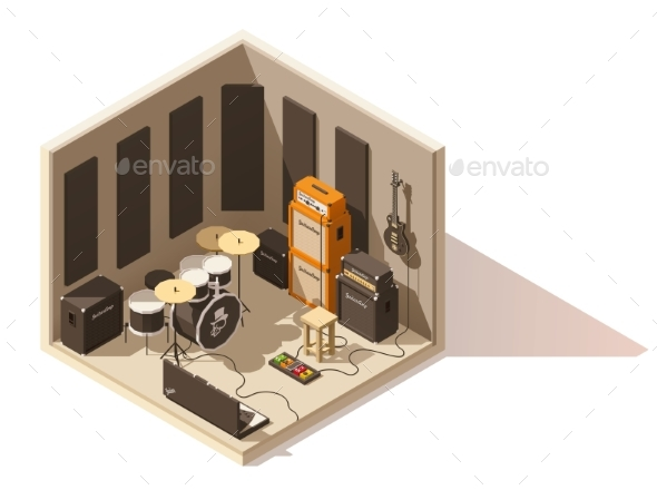 Vector Isometric Low Poly Recording Studio Icon - Buildings Objects