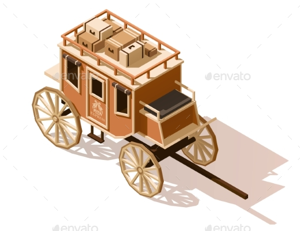 Vector Isometric Low Poly Stagecoach Icon - Man-made Objects Objects
