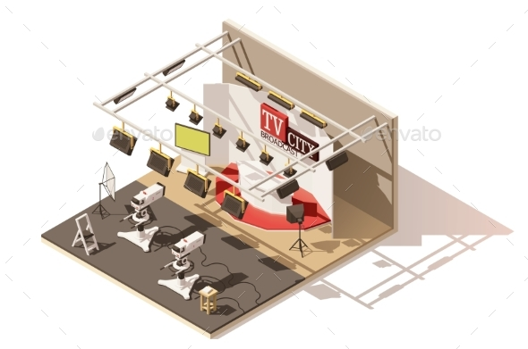 Isometric Low Poly Television Studio Icon - Buildings Objects