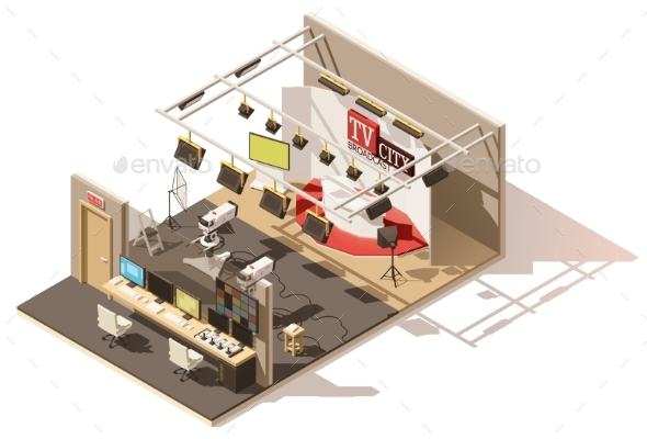 Vector Isometric Low Poly Television Studio - Buildings Objects