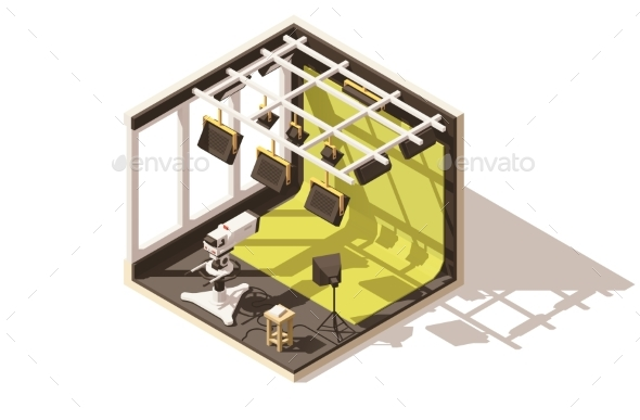 Isometric Low Poly Television Studio - Buildings Objects