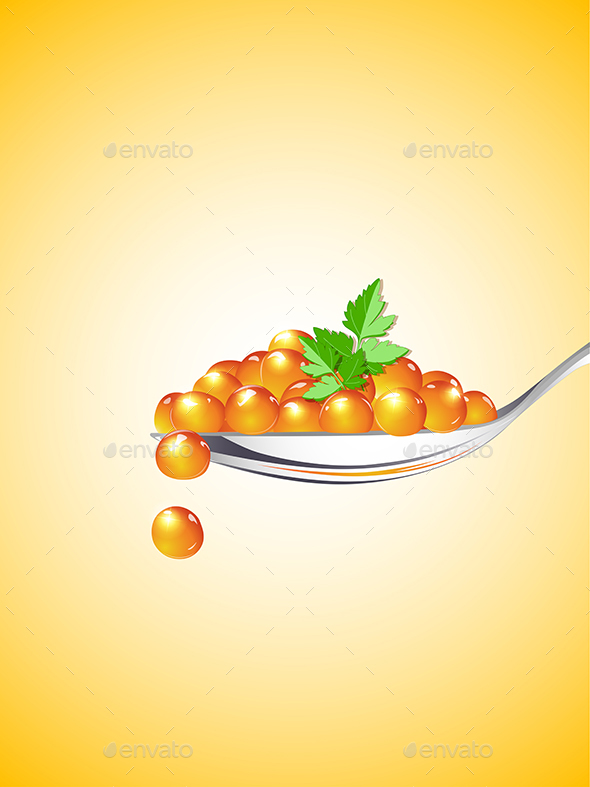 Spoon with Red Caviar - Food Objects
