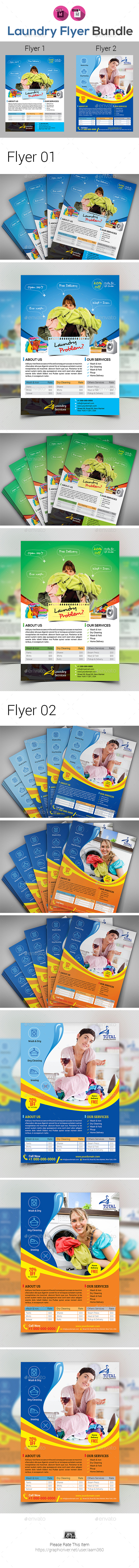 Laundry Services Flyer Bundle - Flyers Print Templates