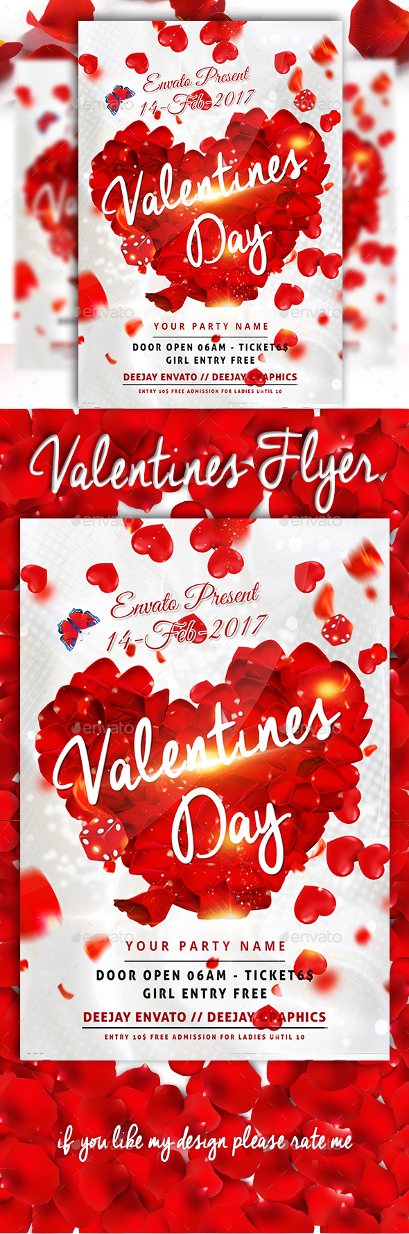 Valentines Day Flyer - Template - Clubs & Parties Events