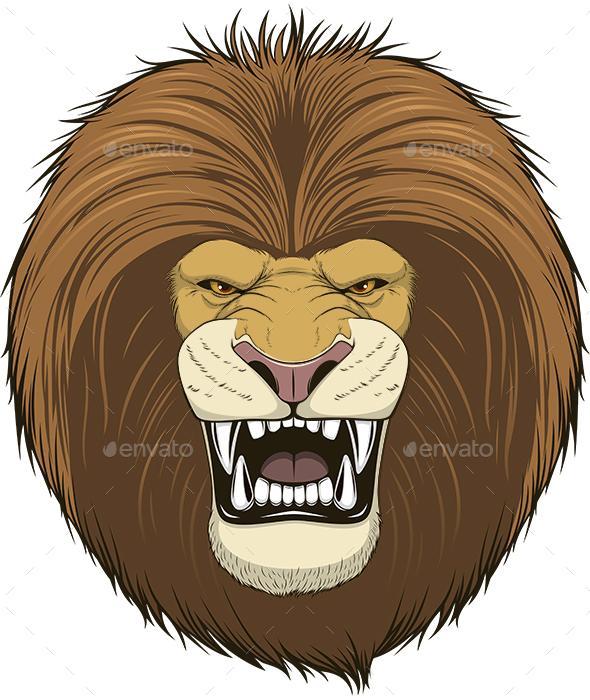Ferocious Lion Head - Animals Characters
